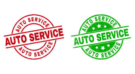 Round AUTO SERVICE seal stamps. Flat vector distress seal stamps with AUTO SERVICE text inside circle and lines, using red and green colors. Rubber imitations with scratched texture. 矢量图像