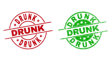 Round DRUNK seal stamps. Flat vector grunge seal stamps with DRUNK message inside circle and lines, in red and green colors. Stamp imprints with grunge style.