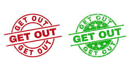 Round GET OUT stamp badges. Flat vector distress stamp watermarks with GET OUT message inside circle and lines, using red and green colors. Stamp imprints with scratched surface. 矢量图像