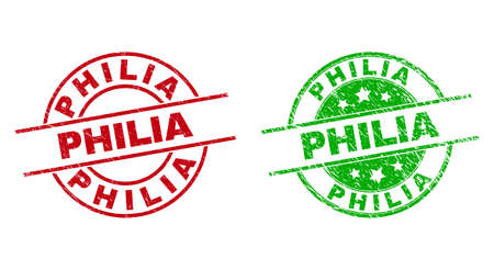 Round PHILIA stamp badges. Flat vector textured badges with PHILIA text inside circle and lines, using red and green colors. Stamp imprints with distress texture.