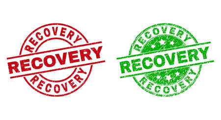 Round RECOVERY watermarks. Flat vector scratched stamp watermarks with RECOVERY phrase inside circle and lines, in red and green colors. Rubber imitations with scratched surface.