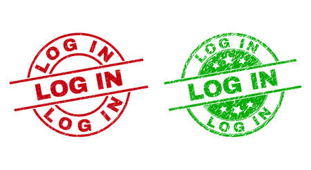 Round LOG IN badge stamps. Flat vector distress stamps with LOG IN text inside circle and lines, in red and green colors. Rubber imitations with distress style. 矢量图像