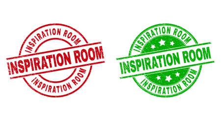 Round INSPIRATION ROOM badge stamps. Flat vector grunge stamp watermarks with INSPIRATION ROOM phrase inside circle and lines, using red and green colors. Watermarks with grunge texture. 矢量图像