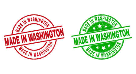 Round MADE IN WASHINGTON stamps. Flat vector grunge stamps with MADE IN WASHINGTON message inside circle and lines, in red and green colors. Watermarks with grunge texture.
