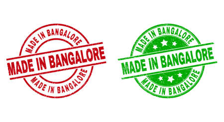 Round MADE IN BANGALORE badge stamps. Flat vector textured stamp watermarks with MADE IN BANGALORE text inside circle and lines, in red and green colors. Stamp imprints with scratched texture.