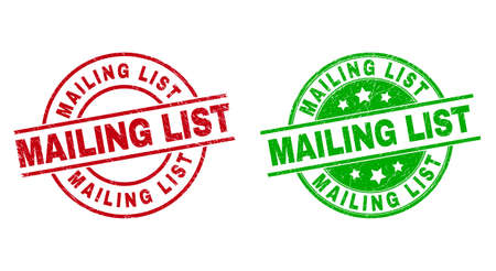 Round MAILING LIST seal stamps. Flat vector scratched seal stamps with MAILING LIST title inside circle and lines, in red and green colors. Stamp imprints with scratched texture. 矢量图像