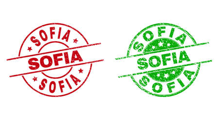 Round SOFIA stamp badges. Flat vector distress badges with SOFIA caption inside circle and lines, using red and green colors. Stamp imprints with grunge texture.