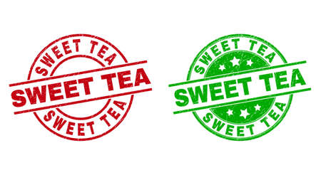 Round SWEET TEA badge stamps. Flat vector grunge stamps with SWEET TEA text inside circle and lines, using red and green colors. Rubber imitations with unclean surface.