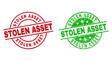 Round STOLEN ASSET seal stamps. Flat vector grunge seal stamps with STOLEN ASSET title inside circle and lines, using red and green colors. Rubber imitations with grunge surface.
