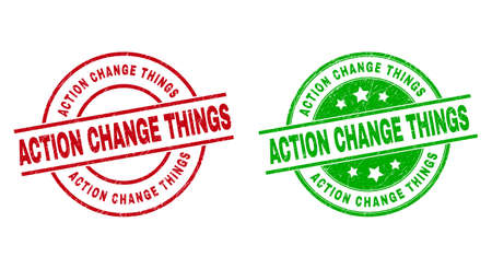 Round ACTION CHANGE THINGS badge stamps. Flat vector grunge stamps with ACTION CHANGE THINGS message inside circle and lines, using red and green colors. Watermarks with grunge surface.