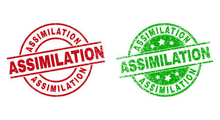 Round ASSIMILATION badge stamps. Flat vector distress seals with ASSIMILATION caption inside circle and lines, in red and green colors. Stamp imprints with distress surface. 矢量图像