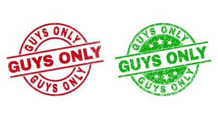 Round GUYS ONLY seal stamps. Flat vector distress seal stamps with GUYS ONLY text inside circle and lines, in red and green colors. Rubber imitations with unclean surface.