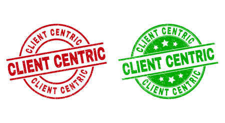 Round CLIENT CENTRIC stamp badges. Flat vector textured stamp watermarks with CLIENT CENTRIC text inside circle and lines, in red and green colors. Rubber imitations with grunged texture. 矢量图像