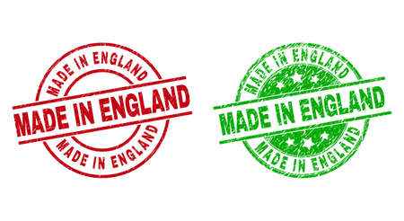 Round MADE IN ENGLAND badge stamps. Flat vector scratched stamp watermarks with MADE IN ENGLAND phrase inside circle and lines, in red and green colors. Watermarks with scratched style.