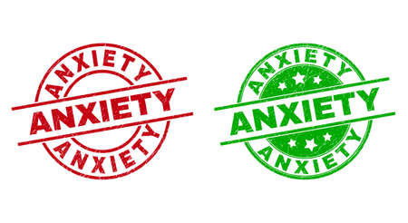 Round ANXIETY seal stamps. Flat vector distress seal stamps with ANXIETY caption inside circle and lines, in red and green colors. Rubber imitations with scratched style. 矢量图像