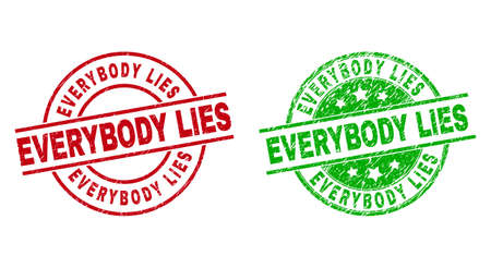 Round EVERYBODY LIES badge stamps. Flat vector distress seals with EVERYBODY LIES phrase inside circle and lines, using red and green colors. Watermarks with distress style. 矢量图像