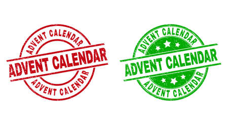 Round ADVENT CALENDAR seal stamps. Flat vector scratched seal stamps with ADVENT CALENDAR message inside circle and lines, using red and green colors. Stamp imprints with unclean surface.