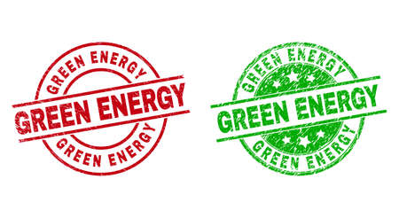 Round GREEN ENERGY stamp badges. Flat vector grunge stamp watermarks with GREEN ENERGY title inside circle and lines, in red and green colors. Watermarks with unclean style.