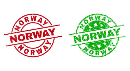 Round NORWAY stamp badges. Flat vector scratched stamp watermarks with NORWAY message inside circle and lines, using red and green colors. Watermarks with scratched style.