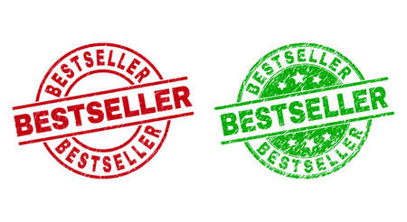 Round BESTSELLER badge stamps. Flat vector grunge stamps with BESTSELLER caption inside circle and lines, in red and green colors. Rubber imitations with grunge style.