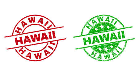 Round HAWAII seal stamps. Flat vector scratched stamp watermarks with HAWAII title inside circle and lines, in red and green colors. Stamp imprints with scratched style. 矢量图像