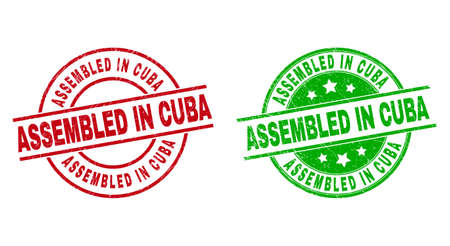 Round ASSEMBLED IN CUBA seal stamps. Flat vector textured seal stamps with ASSEMBLED IN CUBA phrase inside circle and lines, in red and green colors. Stamp imprints with scratched style. 矢量图像