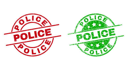 Round POLICE seal stamps. Flat vector grunge stamps with POLICE phrase inside circle and lines, using red and green colors. Stamp imprints with grunge surface. 矢量图像