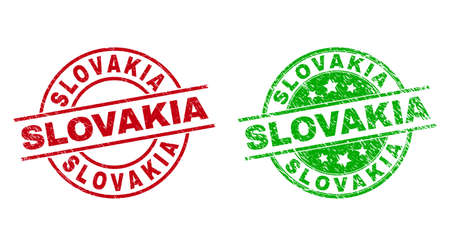 Round SLOVAKIA seals. Flat vector scratched stamp watermarks with SLOVAKIA phrase inside circle and lines, in red and green colors. Stamp imprints with scratched surface.
