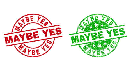 Round MAYBE YES seal stamps. Flat vector grunge seal stamps with MAYBE YES title inside circle and lines, in red and green colors. Watermarks with unclean surface.