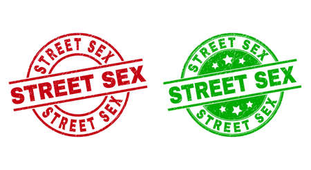 Round STREET SEX watermarks. Flat vector distress stamp watermarks with STREET SEX caption inside circle and lines, in red and green colors. Watermarks with grunge surface.
