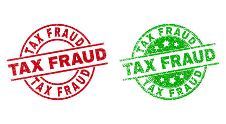 Round TAX FRAUD seals. Flat vector distress stamp watermarks with TAX FRAUD title inside circle and lines, in red and green colors. Rubber imitations with distress style.