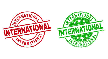 Round INTERNATIONAL stamps. Flat vector scratched badges with INTERNATIONAL message inside circle and lines, using red and green colors. Stamp imprints with scratched style.
