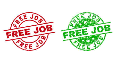 Round FREE JOB stamps. Flat vector grunge stamps with FREE JOB title inside circle and lines, using red and green colors. Rubber imitations with grunge texture. 矢量图像