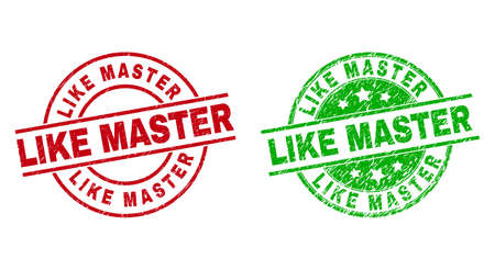 Round LIKE MASTER stamp badges. Flat vector distress seal stamps with LIKE MASTER phrase inside circle and lines, in red and green colors. Stamp imprints with grunged texture.