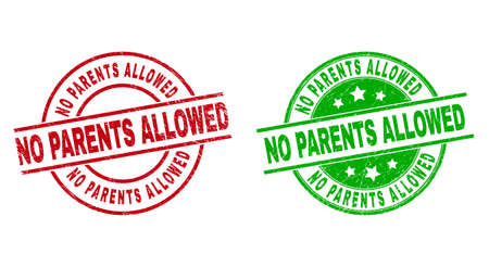 Round NO PARENTS ALLOWED stamp badges. Flat vector textured badges with NO PARENTS ALLOWED title inside circle and lines, in red and green colors. Rubber imitations with unclean style. 矢量图像