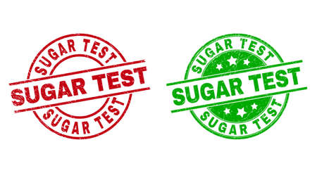 Round SUGAR TEST badge stamps. Flat vector grunge stamp watermarks with SUGAR TEST title inside circle and lines, in red and green colors. Watermarks with grunge texture. 矢量图像