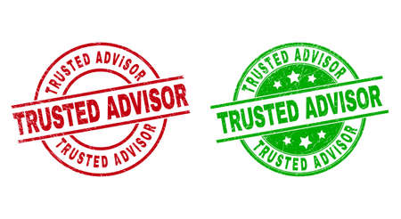 Round TRUSTED ADVISOR seal stamps. Flat vector distress stamp watermarks with TRUSTED ADVISOR title inside circle and lines, in red and green colors. Watermarks with distress style.