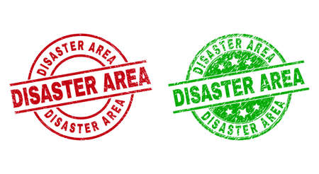 Round DISASTER AREA stamp badges. Flat vector distress stamp watermarks with DISASTER AREA message inside circle and lines, using red and green colors. Watermarks with grunge surface.