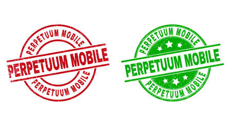 Round PERPETUUM MOBILE stamp badges. Flat vector scratched badges with PERPETUUM MOBILE message inside circle and lines, in red and green colors. Rubber imitations with corroded texture.