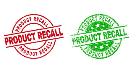 Round PRODUCT RECALL stamp badges. Flat vector grunge stamp watermarks with PRODUCT RECALL caption inside circle and lines, in red and green colors. Watermarks with unclean style.