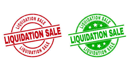 Round LIQUIDATION SALE stamps. Flat vector scratched stamps with LIQUIDATION SALE caption inside circle and lines, in red and green colors. Rubber imitations with scratched texture. Ilustração Vetorial