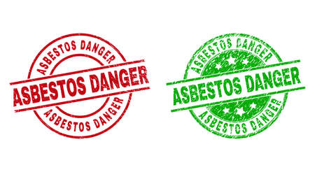 Round ASBESTOS DANGER stamp badges. Flat vector textured stamp watermarks with ASBESTOS DANGER phrase inside circle and lines, in red and green colors. Watermarks with unclean style.