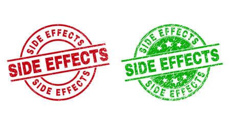 Round SIDE EFFECTS stamp badges. Flat vector grunge stamp watermarks with SIDE EFFECTS message inside circle and lines, in red and green colors. Stamp imprints with grunged style. Vector Illustratie