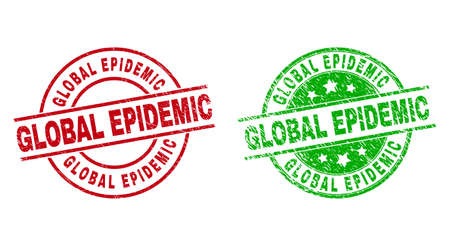 Round GLOBAL EPIDEMIC seal stamps. Flat vector grunge stamp watermarks with GLOBAL EPIDEMIC message inside circle and lines, in red and green colors. Stamp imprints with grunge style.