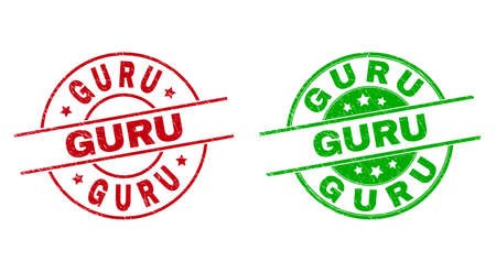 Round GURU seal stamps. Flat vector scratched seal stamps with GURU caption inside circle and lines, in red and green colors. Watermarks with scratched surface.