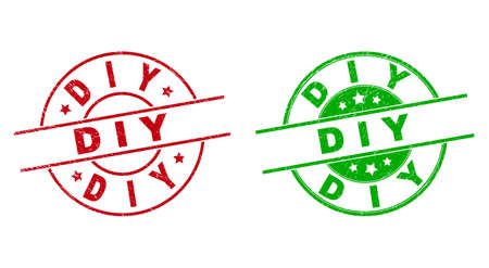 Round D I Y badge stamps. Flat vector distress stamps with D I Y message inside circle and lines, using red and green colors. Watermarks with unclean texture.