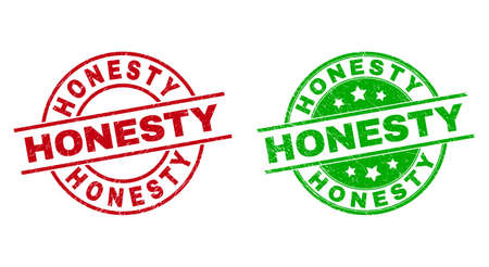 Round HONESTY watermarks. Flat vector grunge seals with HONESTY caption inside circle and lines, using red and green colors. Watermarks with grunge texture. Vecteurs