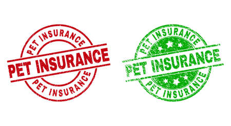 Round PET INSURANCE seal stamps. Flat vector distress seal stamps with PET INSURANCE title inside circle and lines, in red and green colors. Watermarks with corroded surface.