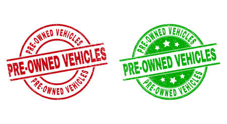 Round PRE-OWNED VEHICLES stamp badges. Flat vector grunge seal stamps with PRE-OWNED VEHICLES phrase inside circle and lines, using red and green colors. Stamp imprints with grunge style.