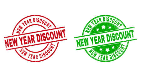 Round NEW YEAR DISCOUNT stamp badges. Flat vector textured stamp watermarks with NEW YEAR DISCOUNT caption inside circle and lines, in red and green colors. Watermarks with unclean style.